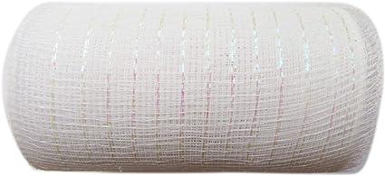 10 Yards -YYCRAFT Metallic Deco Poly Mesh Ribbon White 6 inch x 30 feet