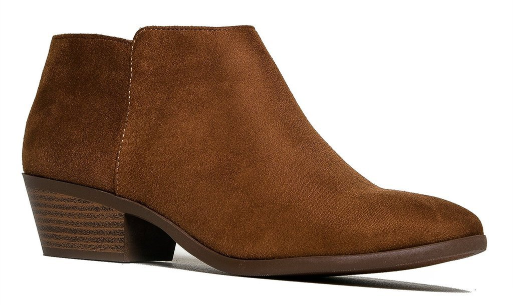 Soda Western Ankle Boot- Cowgirl Low Heel Closed Toe Casual Bootie Cognac 8.5