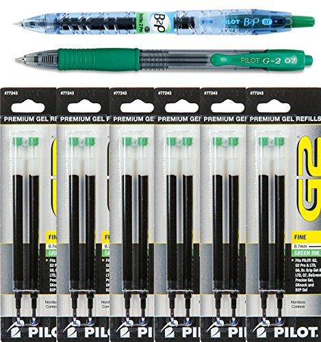 Pt 0.7 Mm Pack (Pilot G2 Refills, Green Gel Ink, 0.7mm Fine Pt., 6 Packs of Refills Plus 1 Pilot G2 0.7 Fine Pt. Green Ink Pen and 1 Pilot B2p Green Ink Pen)