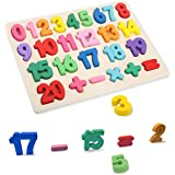 T Leaves Number Puzzles, Wooden Preschool Learning Toy for Toddler 3-5 Years Old,Perfect Toy Gift for Boy Girl