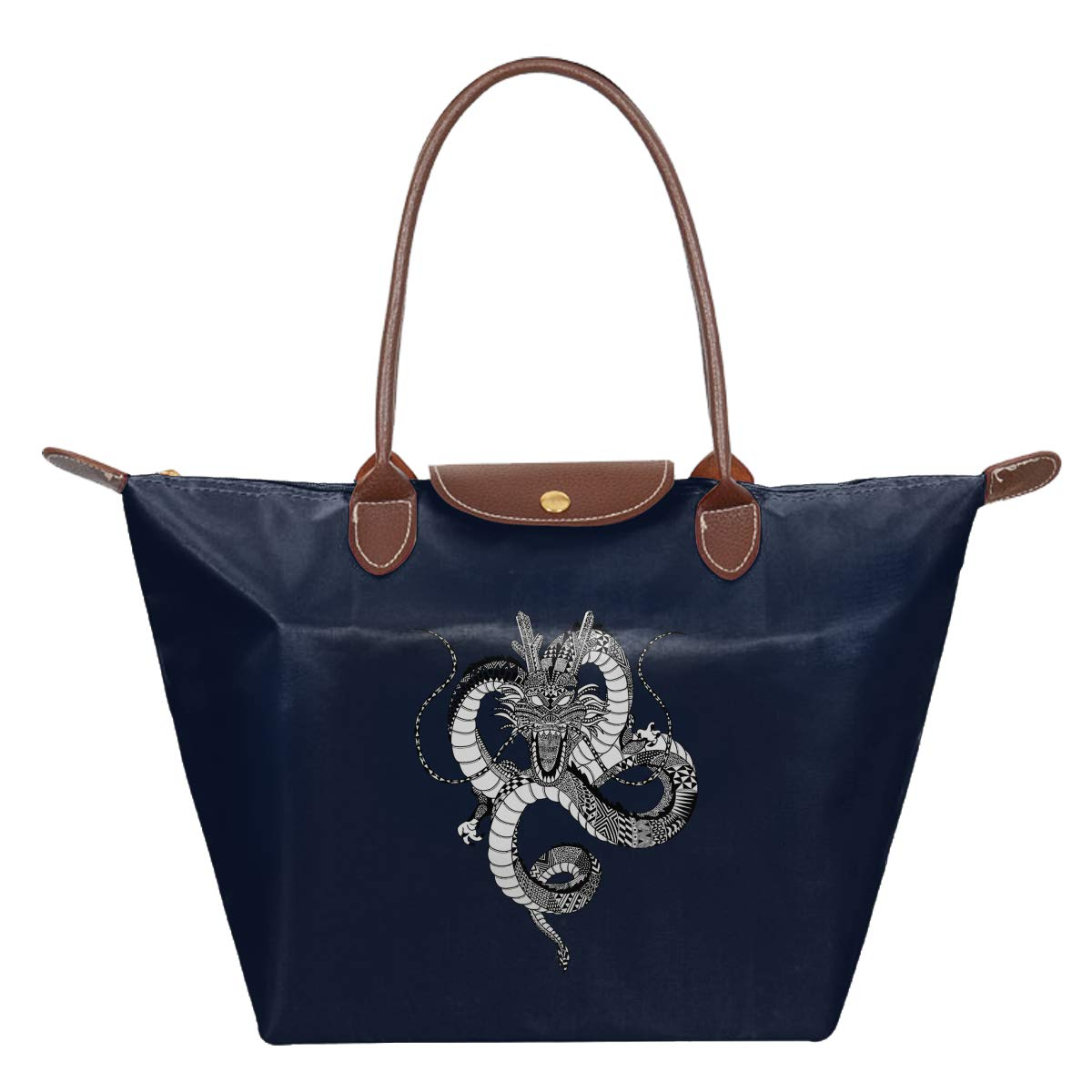 Aztec Dragon Shenron Dragon Ball Z Waterproof Leather Folded Messenger Nylon Bag Travel Tote Hopping Folding School Handbags