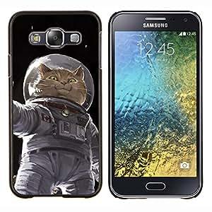 TECHCASE---Cubierta de la caja de protección para la piel dura ** Samsung Galaxy E5 E500 ** --Cosmonauta Astronauta Gatito Gato Espacial