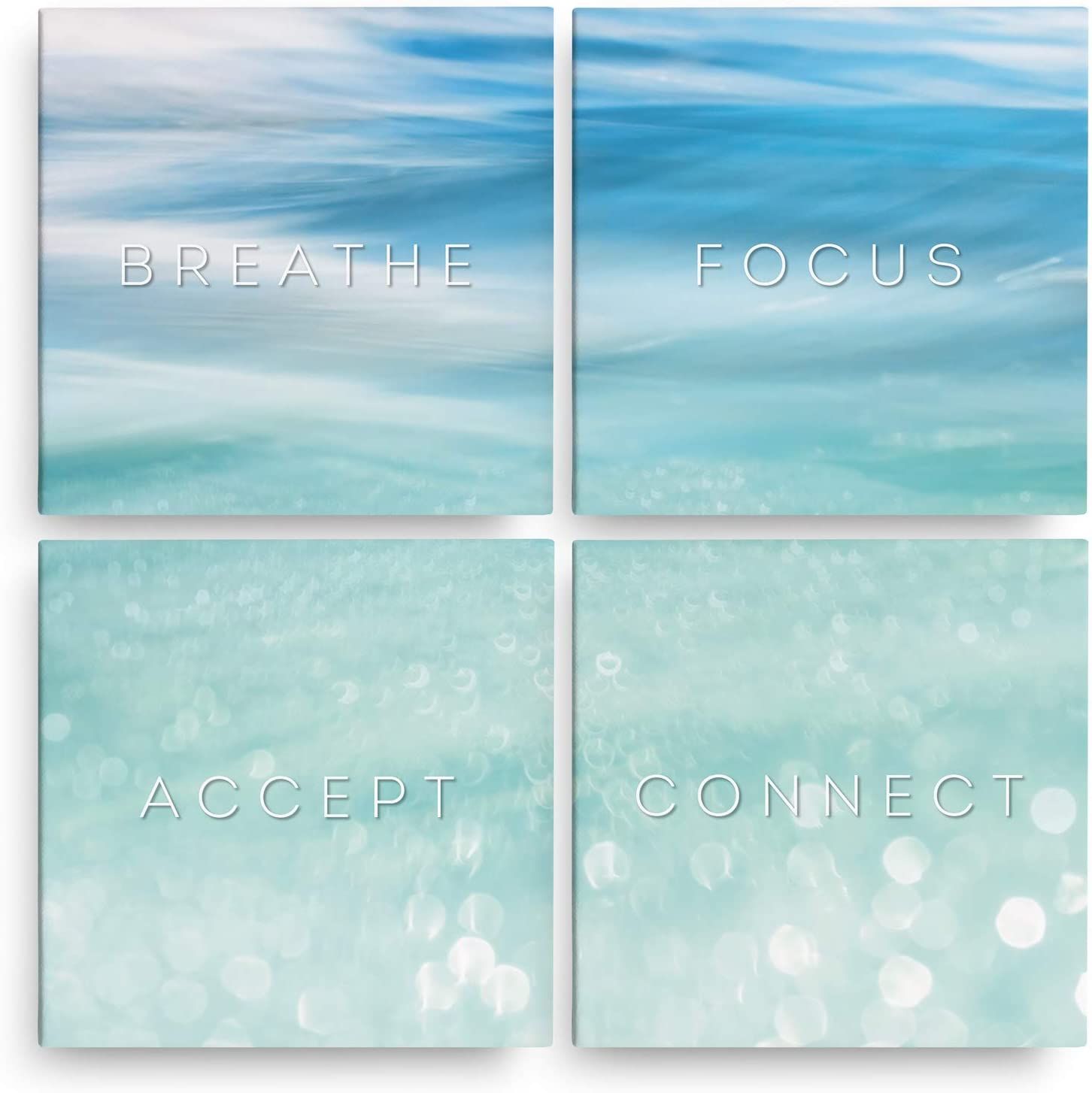 """Inspirational Wall Art - Set of 4 (12"""" x 12"""") Ready To Hang Canvas Prints - Zen Wall Art - Great For Meditation Decor - Large Zen Decor Comes Wrapped Around Strong Wood Frame"""