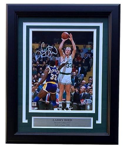 4db63526677 Larry Bird Signed Framed Boston Celtics 8x10 Jersey Photo Beckett ...