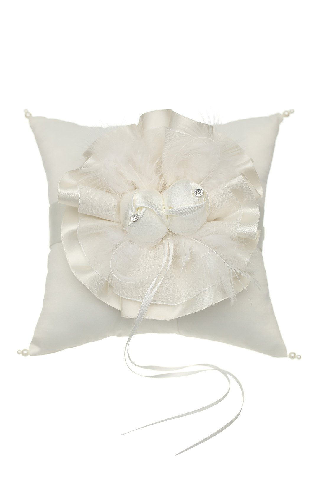 Venus Jewelry Satin Flower with Feathers Pearl Wedding Ring Bearer Pillow 7 Inch x 7 Inch - Ivory RP006I