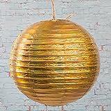 Richland Round Chinese Paper Lanterns 12'' Set of 10 (Gold Metallic)