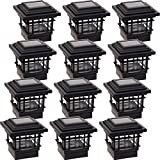 12 Pack GreenLighting Classica High Lumen Plastic Solar Post Cap Lights for 4x4 Wood Posts (Black)