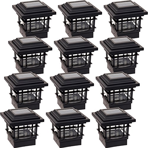 12 Pack GreenLighting Classica 20 Lumen Plastic Solar Post Cap Lights for 4x4 Wood Posts (12 Black Ambiance Housing)