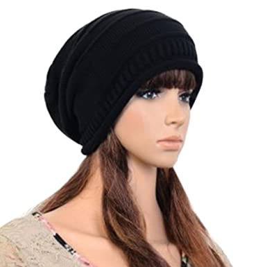 96a0a699028 Unisex Mens Womens Hot Fashion Hip Hop Slouch Baggy Beanie Cap Slouchy  Skull Hat Knit Hat (Black)  Amazon.co.uk  Clothing