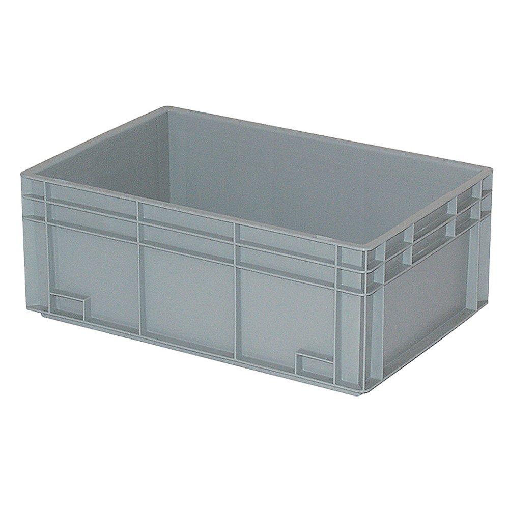 Eurobehälter mit 2 Griffleisten, LxBxH 600 x 400 x 235 mm, 45 Liter, grau, lebensmittecht, Industriequalität