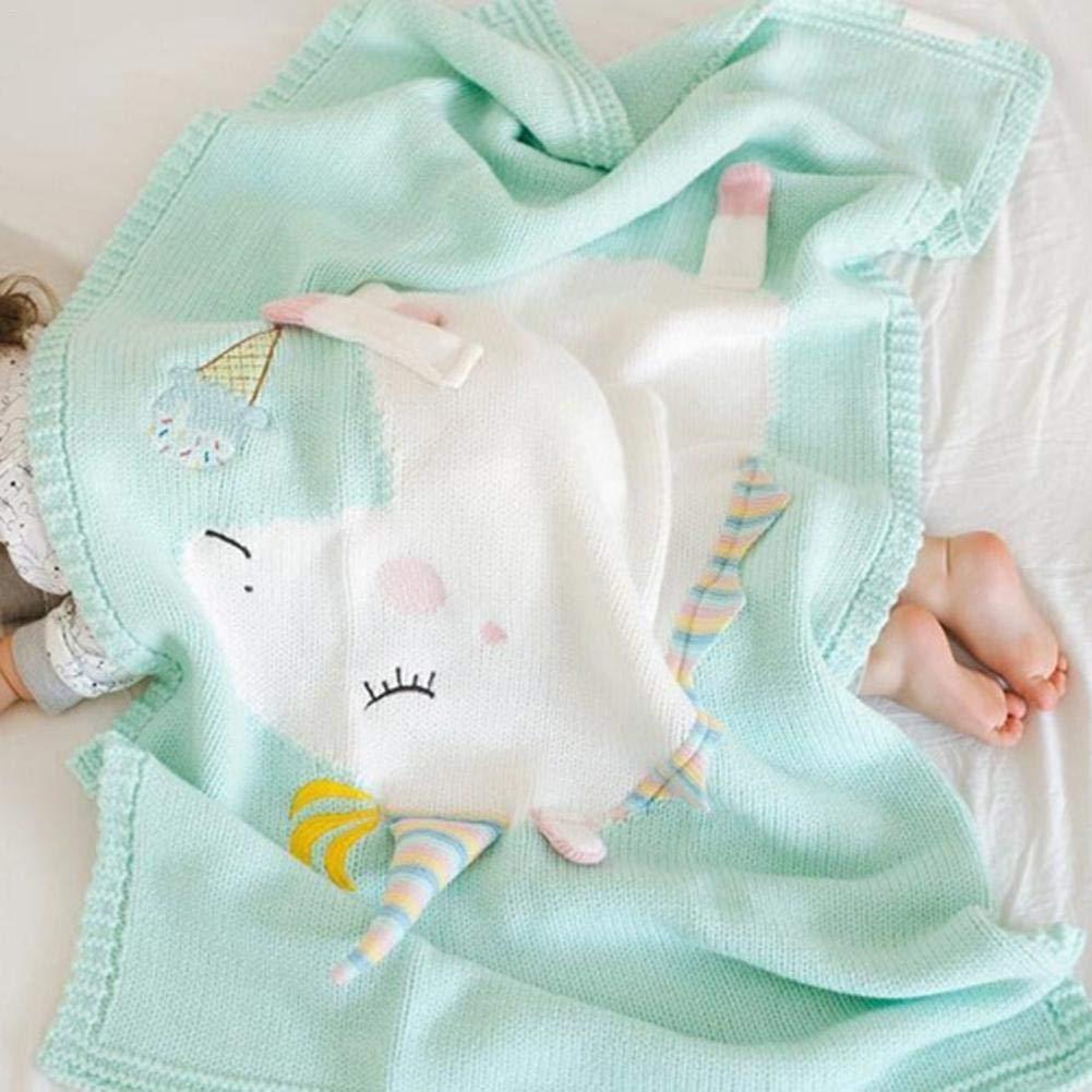 Househome - Manta para bebé de punto de unicornio, suave y cálida, manta de punto de crochet para bebés rosa rosa: Amazon.es: Bebé