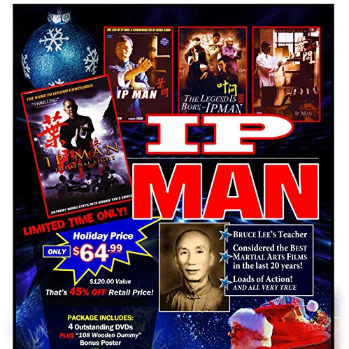 IP Man Wing Chun Gift Set 4 DVD Movies + 108 Wooden Dummy Poster $120 Value by Rising Sun