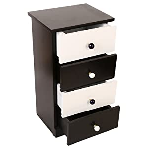 Santosha Decor MDF Pre Assembled Bedside Cabinet with 4 Drawers, 38x29x39cm (Black and White)