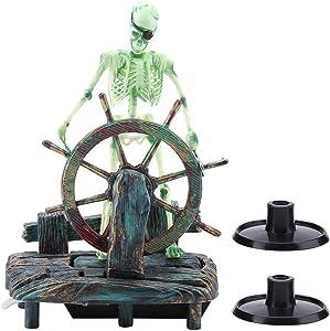 HEEPDD Aquarium Pirate Captain Decoration, Lifelike Landscape Pirate Captain Skeleton Ornament Fish Tank Plastic Resin Material Ornaments for Freshwater Saltwater Aquarium