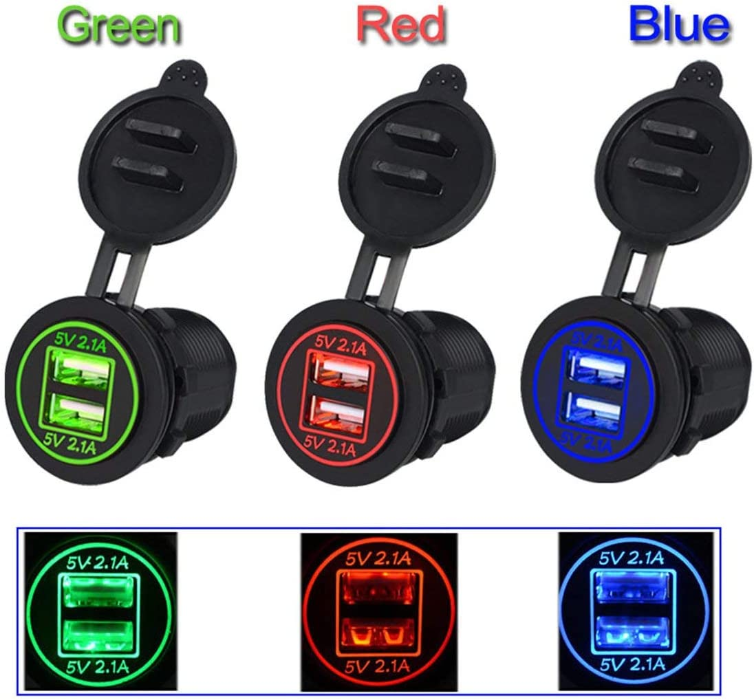 Zinniaya 5V 4.2A Dual USB Charger Socket Adapter Outlet for 12V 24V Motorcycle Car High Safety Coefficient with LED Indicator