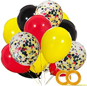 KSNOW Mickey Color Balloons12 Inch Red Black Yellow Latex Balloons with Confetti Balloon for Baby Shower Birthday Party Decor (60 PACK)