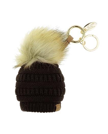 093b2e6dc21 Amazon.com  C.C Pom Pom Beanie Key Chain Key Ring Handbag Tote Accessory