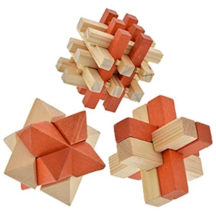 amazon com brain teaser 3 d wooden puzzles 3 puzzles toys games