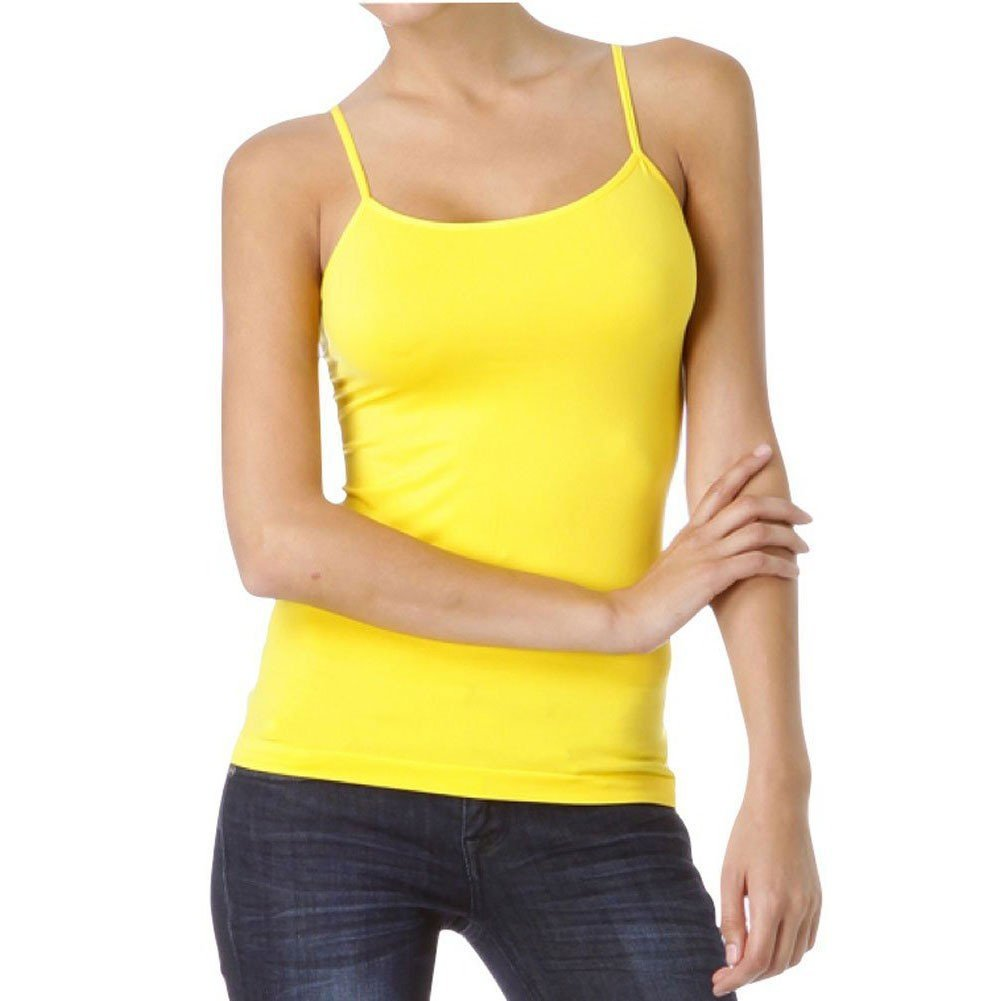 ELEGANCE1234 2 Pcs Girls and Ladies Cotton Lycra Spaghetti Strap Quality Camisole Vest Tops