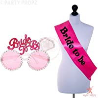 Party Propz Bride to Be Sash and Eyeglass Combo for Bachelorette Parties/Bride to Be Decorations/Bride Accessories