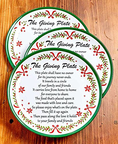 The Lakeside Collection Set of 3 Melamine Christmas Garland Giving Plates (Collection Tableware Winterberry)