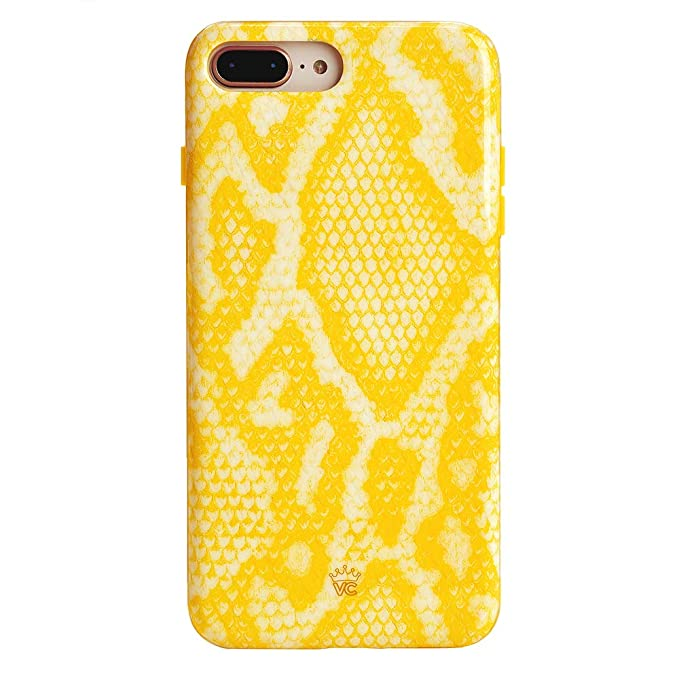 finest selection 41c34 5c89a Yellow Snake Skin iPhone 8 Plus Case/iPhone 7 Plus Case - Premium  Protective Cover - Cute Phone Cases for Girls & Women [Drop Test Certified]  ...