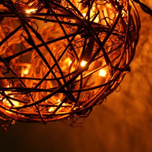 Emlyn LED Pendant Lamp By Emlyn (6.7'') Christmas Decor, Ambient Mood Lighting Night Globe, Romantic Lantern For Wedding, Holiday, Patio, Outdoor (Warm White), rattan, grape by Emlyn (Image #2)