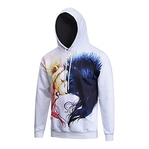 Crochi Style Men/Women Sweatshirt With Cap 3D Print Lion Head Hoody Fall Winter Thin