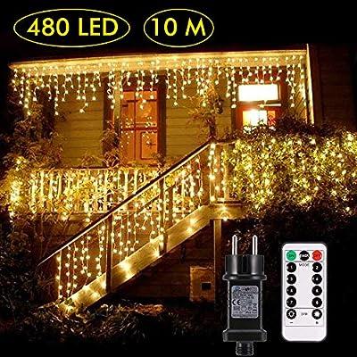 B right Cortina de Luces, 480 LEDS,Cortina de Luces de Hada Interior, Cortina de Luz de LED para Decoración de Ventana, Patio, Balcón, Salón de