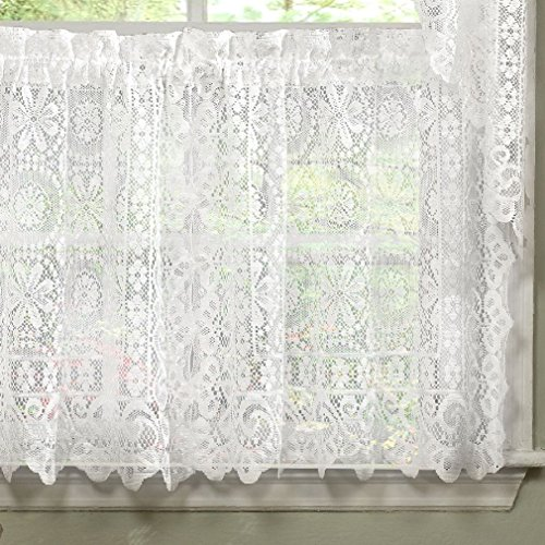 Fancy Hopewell Heavy White Lace Kitchen  - Lace Kitchen Curtains Shopping Results