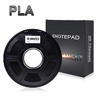 Enotepad Noir PLA 3D Filament d'impression,Filament PLA pour Imprimante 3D,Matériaux d'impression 3D en filament,précision Dimensionnelle ±0,02 mm,1 kg/Bobine,1,75 mm, Filament PLA pour imprimante 3D
