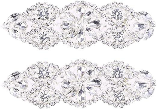 1 Stück Silber Gold Glas Spitze Borten Hochzeit Braut Applikation nähen Handwerk