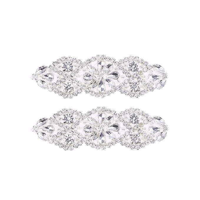 Correa nupcial de cristal Apliques de plata Diamante blanco plata Apliques nupciales de 2 piezas Apliques de diamantes de imitaci/ón transparentes