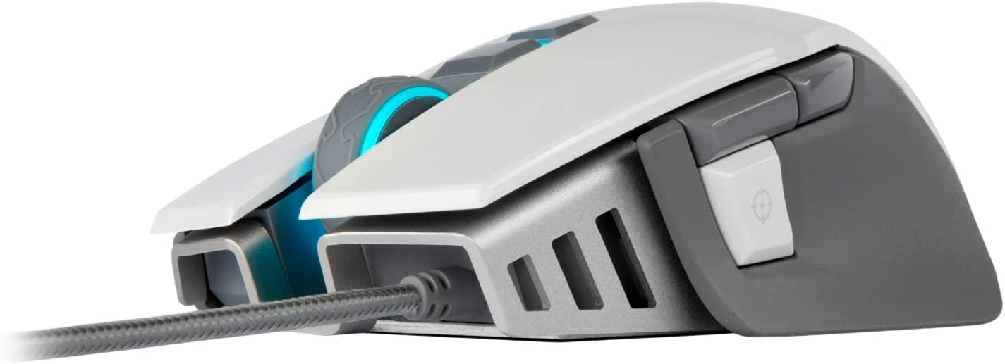 M65 RGB ELITE - FPS Gaming Mouse - 18,000 DPI Optical Sensor - Adjustable DPI Sniper Button - Tunable Weights - White