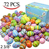 "Joyin Toy 72 Pcs Plastic Printed Bright Easter Eggs 2 3/8"" Tall for Easter Hunt, Basket Stuffers Fillers, Classroom Prize Supplies, Filling Treats and Party Favor"