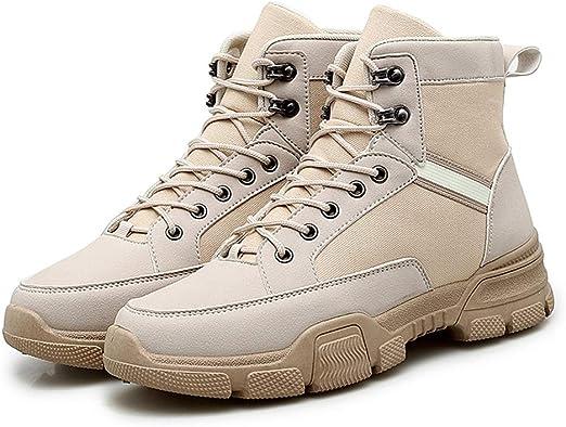 Zhulongjin Botines altos de invierno for hombres for hombres Botas con cordones for escalar Zapatillas de deporte Zapatos de punta redonda Suela de caucho antideslizante de cuero sintético Moda Resist: Amazon.es: Hogar