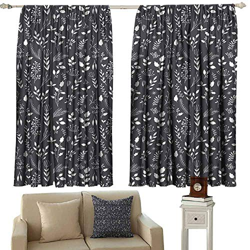 Kids Room Curtains Black and White Wildflowers Bedding Plants Gardening Theme Cottage Design Botanical Meadow Light Blocking Drapes with Liner W55 xL45 Black White