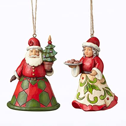 Jim Shore Heartwood Creek Mr And Mrs Claus Christmas Ornament Set Of 2 4051332