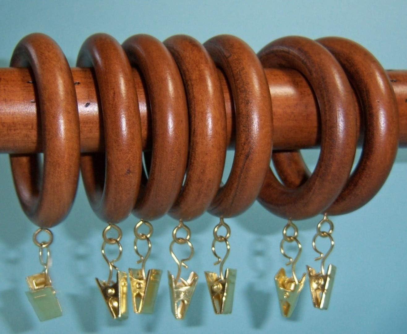"Springs 7 Pack Curtain Rod Pole Rings Natural Wood Gold Eye Hooks 1 3//8/"" Window"