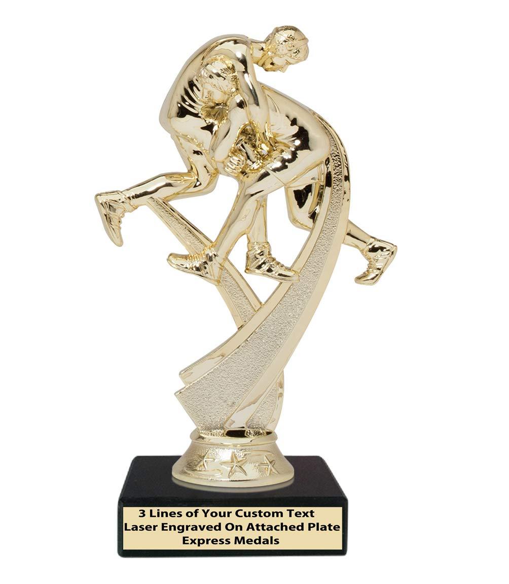 Express Medals 2位 3位 勝者 チャンピオン レスリング トロフィー 1パック 50個入り 本物のブラック大理石ベース 刻印プレート付き 175 B07KX18R9V  3