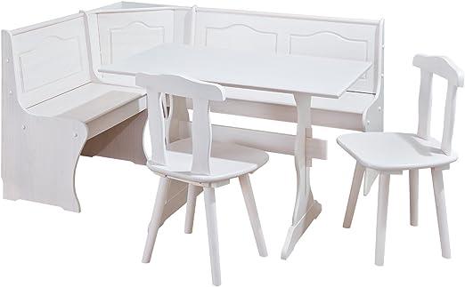 Inter Link Zona Pranzo Con Panca Angolare Tavolo Sedie In Pino Massiccio Verniciato Bianco Amazon It Casa E Cucina
