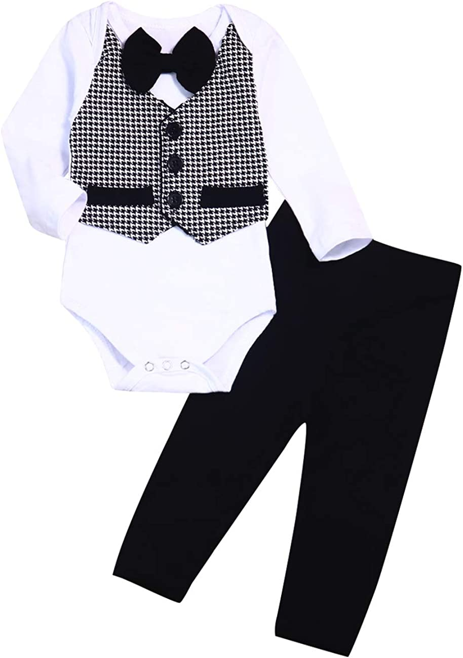 JBEELATE Newborn Baby Boys Gentleman Outfit Formal Suit Pants Set Infant Wedding Long Sleeve Tuxedo Dress Clothes