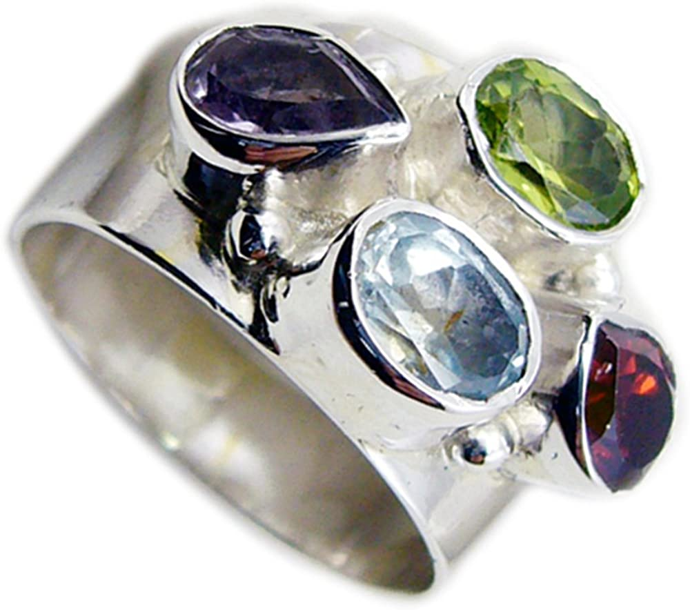 CaratYogi Mixed Shape Fine Peridot Garnet Amethyst Blue Topaz Statement Silver Ring Bezel Style Size 5-12