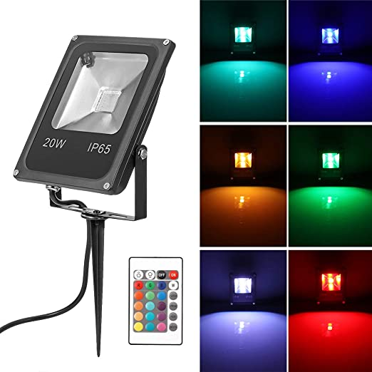 Konesky 20W RGB LED Césped Luces de inundación Control remoto ...