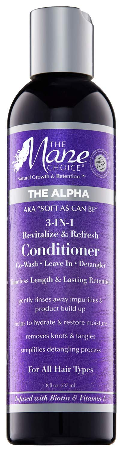 THE MANE CHOICE - Soft As Can Be Revitalize & Refresh 3-in-1 Co-Wash, Leave In, Detangler (8 ounces / 230 Milliliters) - Multi-Action Hair Treatment Conditioner for Curly, Wavy, and Kinky Hair