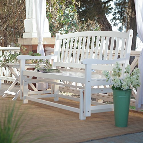 Premium Patio Chairs Loveseat Modern Outdoor Wood Country Loveseats White Chair Glider Contemporary Bench Comfortable Outside Furniture by Coral Coast