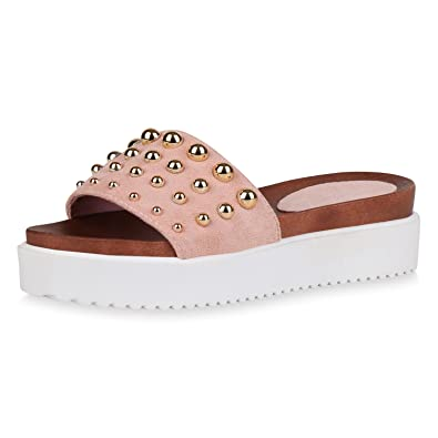 SCARPE VITA Damen Sandaletten Plateau Pantoletten Nieten Sommer Schuhe  Profil 163117 Rosa 41 Flandell bc056d5e63