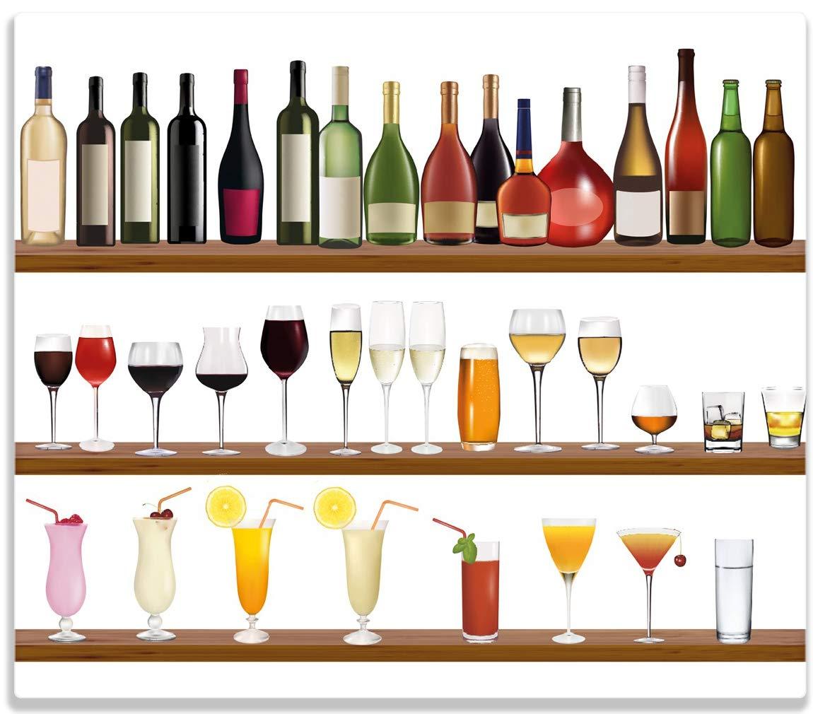 Wallario Herdabdeckplatte/Spitzschutz aus Glas, 1-teilig, 60x52cm, für Ceran- und Induktionsherde, Schnapsregal mit Vielen Bunten Flaschen posterdepot