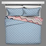 OSD 3pc Girls Light Pink Blue White Tribal Chevron Comforter Full Queen Set, Girly Horizontal Zigzag Tribe Bedding, Color Boho Chic Southwest Polka Dot Dots Themed Pattern, Navy Coral