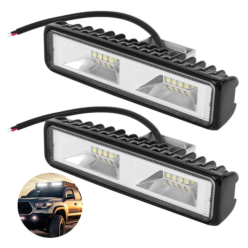 Faro Lavoro LED 48W 2 PCS Barra Faretto LED Fuoristrada Fari di Profondit/à Impermeabile IP67 6000K Luci di Lavoro Fuoristrada per Moto Auto ATV SUV Trattore